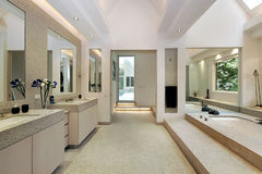 Luxury master bath with step up tub Stock Image