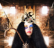 Luxury medieval queen in exclusive gold crown Royalty Free Stock Photography