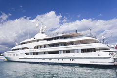 Luxury mega yacht in Cote d Azur sea port Stock Image