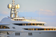 Luxury mega yacht. Detail of a luxury mega yacht Royalty Free Stock Photos