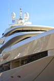 Luxury mega-yacht. Detail of a luxury mega-yacht stock photo