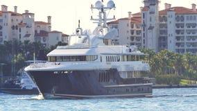 Luxury mega yacht Miami stock video footage