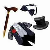 Luxury mens formal attire, tuxedo and accessories Stock Photography