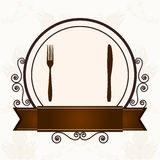 Luxury menu with cutlery Stock Photo