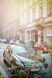 Luxury Mercedes-Benz CLS car parked on a street in France Royalty Free Stock Photo