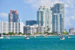 Luxury Miami Beach Condos  on the Intra-coastal Waterway Stock Images
