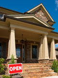 Luxury Model Home angled entrance with Open sign Stock Image