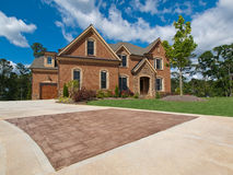 Luxury Model Home Exterior stone driveway Stock Photos