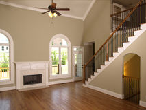 Luxury Model Home Living Room staircase stock image