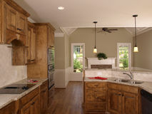 Luxury Model Home Maple Kitchen Royalty Free Stock Photo