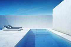 Luxury modern backyard with a swimming pool stock images