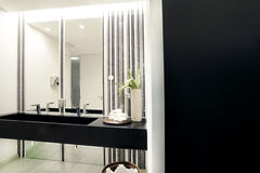 Luxury modern bathroom suite with bath and wc Royalty Free Stock Photography