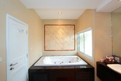 Luxury modern bathroom. Suite with bath and wc Royalty Free Stock Image