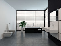 Luxury modern black and white bathroom interior Royalty Free Stock Photography