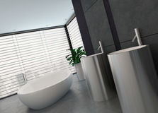 Luxury modern black and white bathroom interior Royalty Free Stock Image