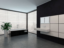 Luxury modern black and white bathroom interior Royalty Free Stock Photo
