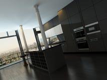 Luxury modern design black kitchen interior Royalty Free Stock Image
