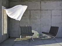 Luxury modern furniture. Two Barcelona chairs in a concrete room with a flowing white curtain Stock Photo