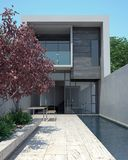 Luxury modern home with pool. Modern architecture in sunny setting Stock Photos
