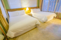 Luxury modern hotel bedroom interior decoration Royalty Free Stock Image