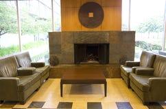 Luxury modern hotel fireplace Stock Photos