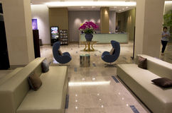Luxury modern hotel lobby furniture. Hotel Lobby with modern and comfortable furniture. Sumsung Hotel Geojedo, South Korea Stock Photo