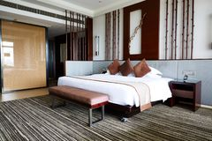 Luxury hotel room, king bed stock images