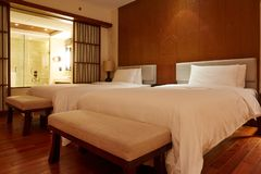 Luxury hotel room, king bed stock photography
