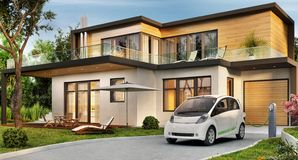 Luxury modern house and electric car. Luxury modern house with garage and electric car vector illustration