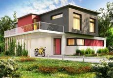 Luxury modern house and motorbike. Luxury big modern house and motorbike stock image