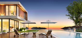 Luxury house with pool and terrace for relaxing. Luxury modern house with pool and terrace for relaxing and swimming pool stock images