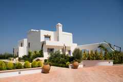 Luxury modern house in white color Royalty Free Stock Images