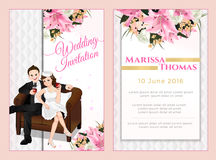 Luxury-modern invitation card, lovely couple sitting on sofa and drinking. Vector wedding cartoon style with 4inchx6inch dimension Stock Photography