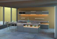 Luxury modern kitchen interior Stock Photos