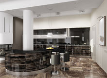 Luxury modern kitchen interior Stock Photos