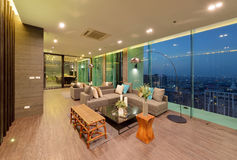 Luxury modern living room interior and decoration at night, inte. Rior design Royalty Free Stock Photos