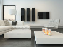 Luxury modern white living room interior Stock Photos