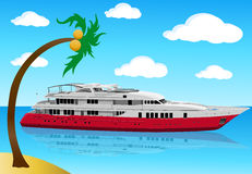 Luxury modern yacht. Illustration of a yacht and coconut palm tree on a small Island royalty free illustration