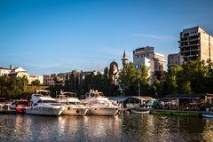 Luxury  modern yachts and motor boats. Docked in sea port in a Constanta old town royalty free stock photos
