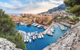 Luxury Monaco-Ville harbour of Monaco, Cote d`Azur. Luxury residential area Monaco-Ville with yachts, Monaco, Cote d`Azur, France stock image
