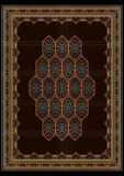 Luxury motley carpet with bright ornaments on brown center Royalty Free Stock Images