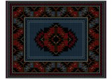 Motley ethnic carpet with vintage ornament and blue in the middle Stock Photos