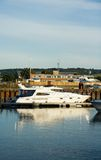 Luxury Motor Boat. Motor boat moored in a harbour royalty free stock photography
