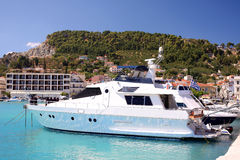 Luxury motor-boat in Zakynthos Island, Greece Stock Image