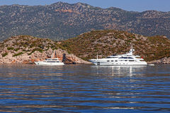 Luxury motor yacht stock images