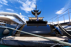 Luxury motor-yacht. Aft-deck of a luxury motor-yacht, docked in a Marina Royalty Free Stock Image