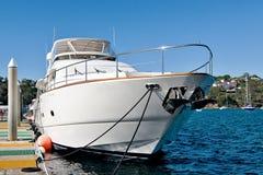 Luxury Motor Yacht. Motor yacht alongside of Wharf. Sydney, Australia Stock Photography