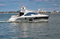 Luxury Motor Yacht Cruising on the Florida Intra-coastal Waterway off Miami Beach Stock Photography