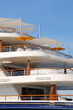 Luxury motor yacht decks Stock Photos