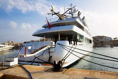 The luxury motor yacht with helicopter Stock Image